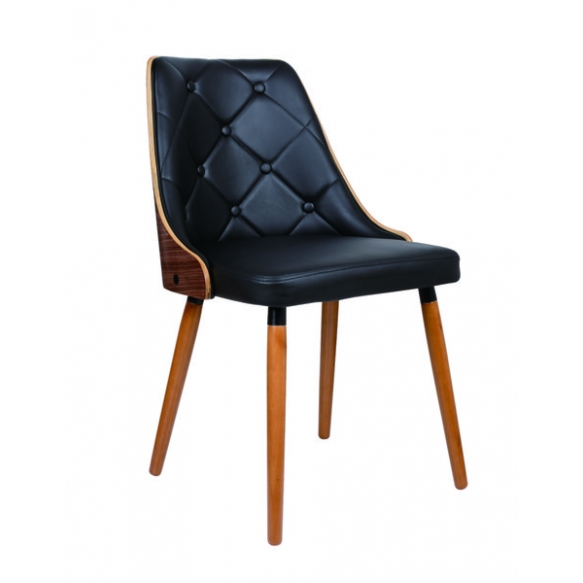 chair, fabric+wood,black