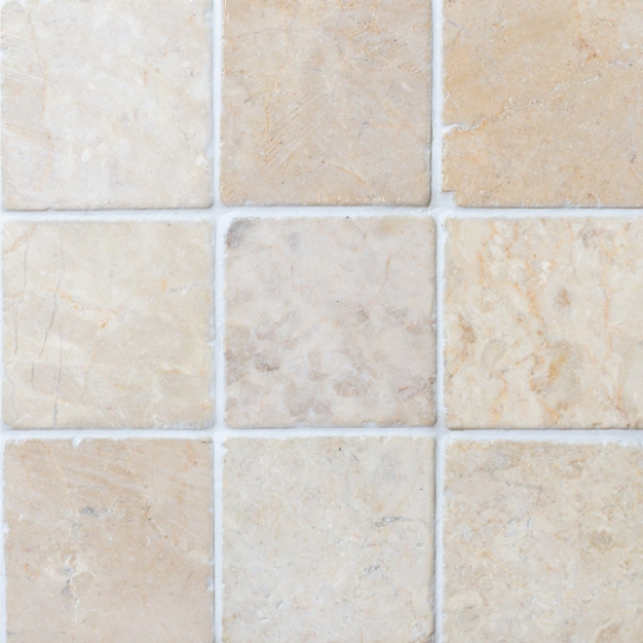 Square White marble 100x100mm, no mesh