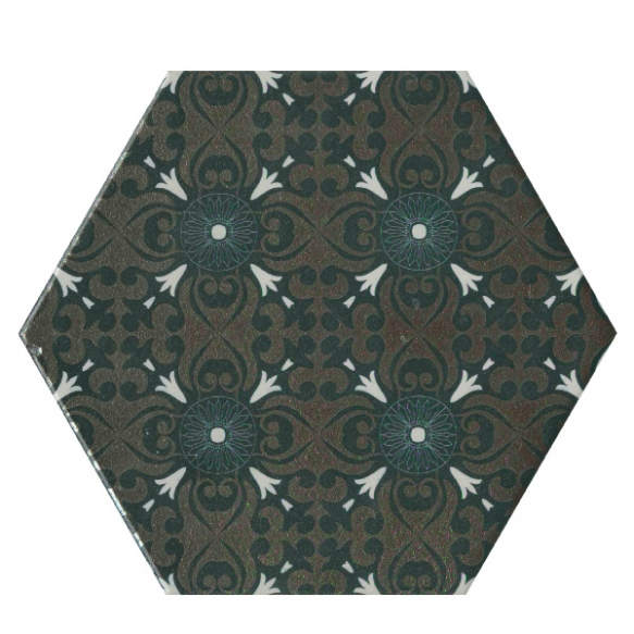Hexagon Decor, glazed porcelain tile, suitable for public use