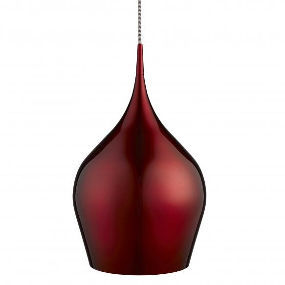 aluminium ceiling lamp w textile cable,red, E27,1X60W