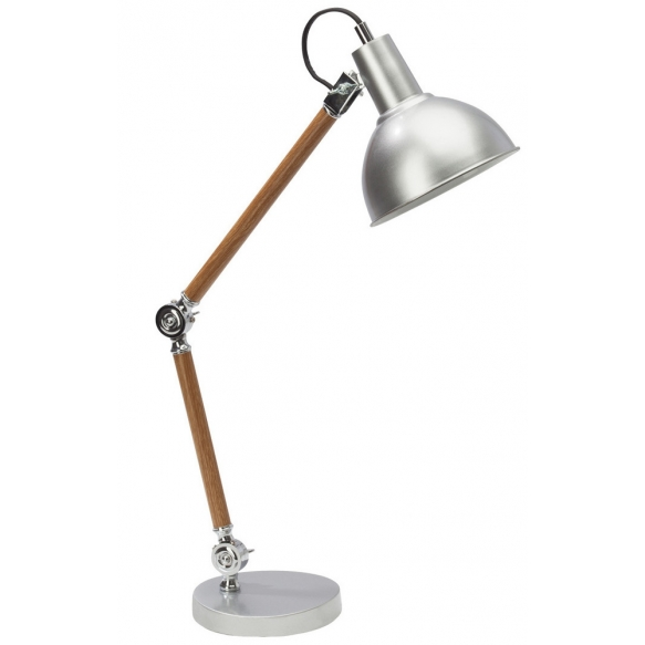 desk lamp wood+silver, metal 1XE27 40W