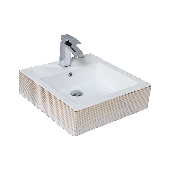 worktop wahbasin Nexus, white+golden pattern