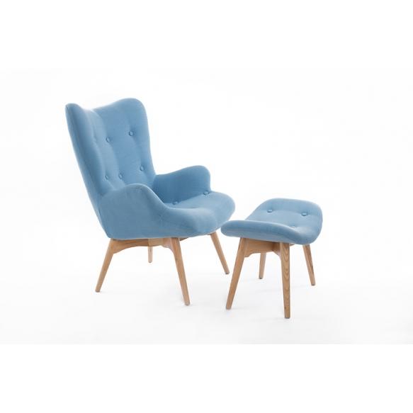 armchair Burg, blue fabric