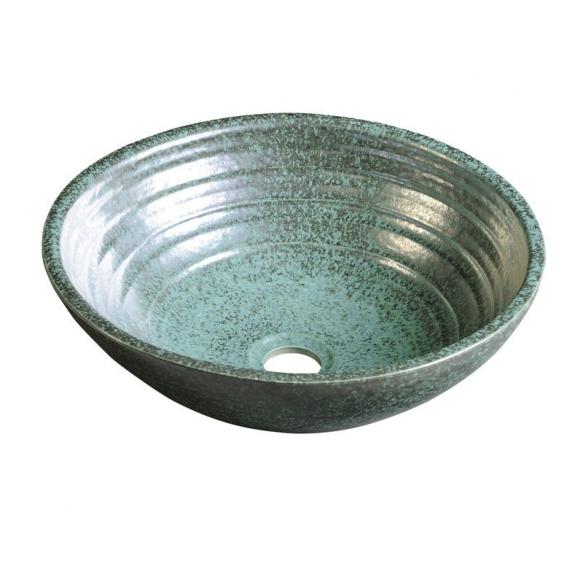 ATTILA ceramic washbasin diameter 43cm, ceramic, green copper color