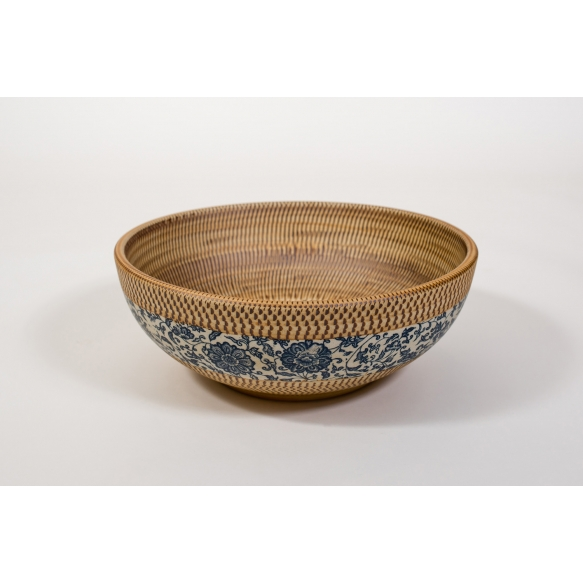 PRIORI ceramic basin diameter 42cm, ceramic, beige color with blue painting