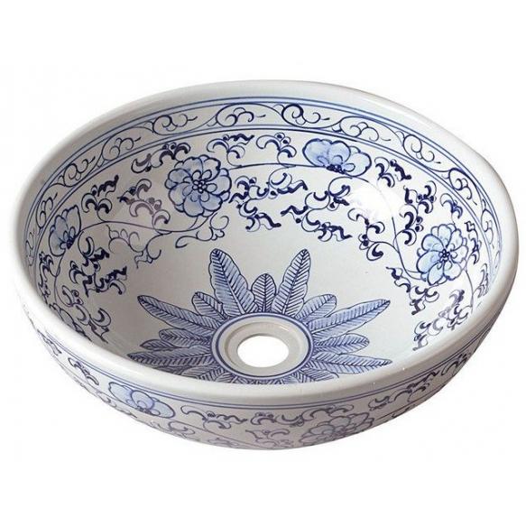 PRIORI ceramic basin diameter 42cm, ceramic, white color with blue painting