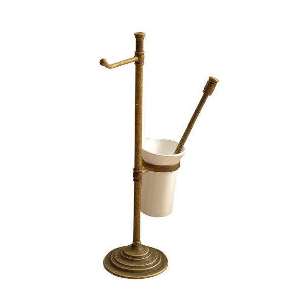 Stand with toilet paper and toilet brush holder, bronze