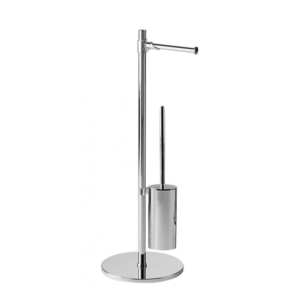Stand with toilet paper and toilet brush holder, round, chrome