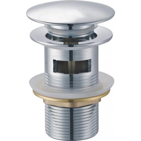 Push Button Round Basin Waste, big plug, chrome