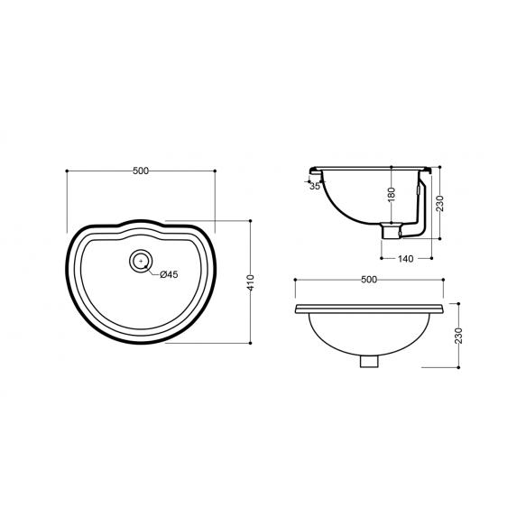 RETRO ceramic washbasin 50x41cm, buit in