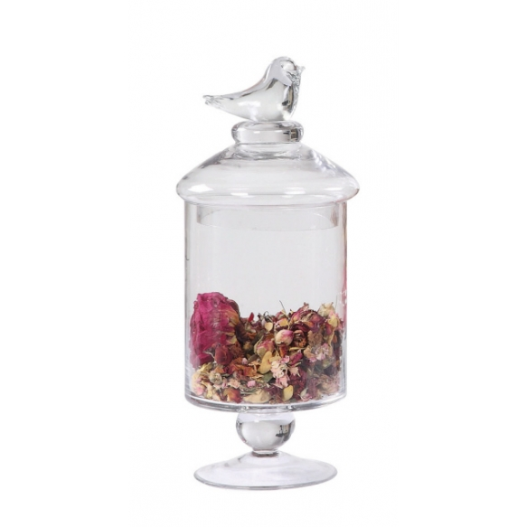 "13""H Glass Footed Container w/ Lid w/ Bird"