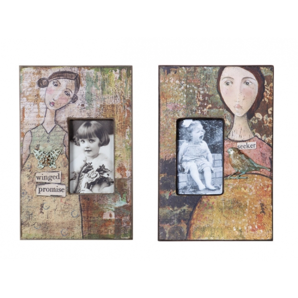 "3x7"" Wood Photo Frame w/ Girl Image, 8-1/2""L x 12-1/2""H, 2 Styles"