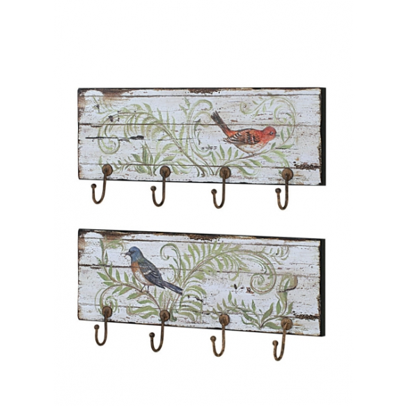 "24""L Wood Wall Plaque w/ Bird Image & 4 Hooks, 2 Styles"