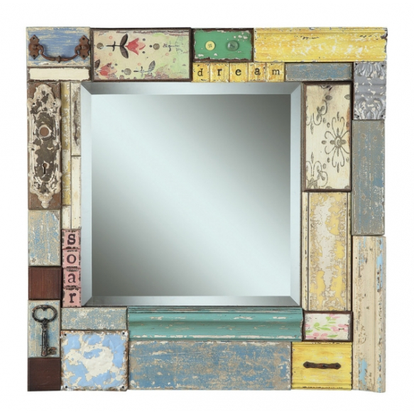 "24""Square x 2-1/8""W Fir & MDF Block Framed Beveled Mirror w/ Embellishments ©"