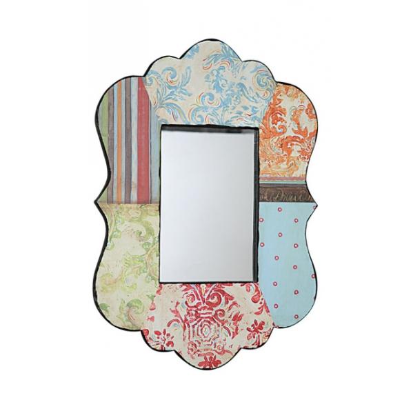 """17""""L x 24-1/2""""H Wood Framed Wall Mirror, Mirror Size 7-1/2""""L x 11-3/4""""H"""