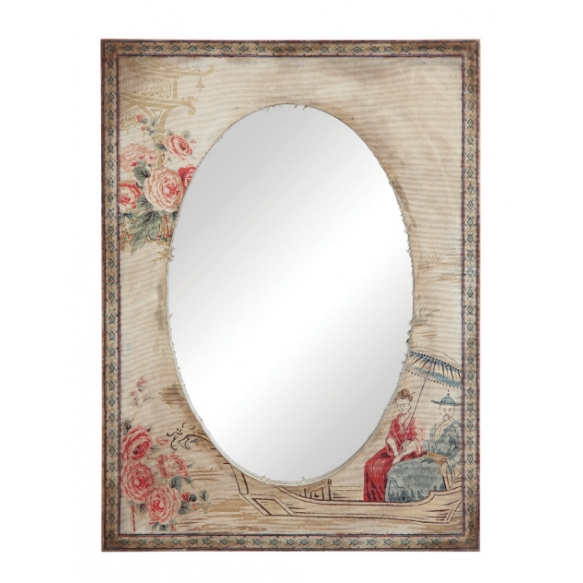 "23""L x 31-1/2""H Canvas Covered MDF Mirror w/ Reproduction of Vintage Image"