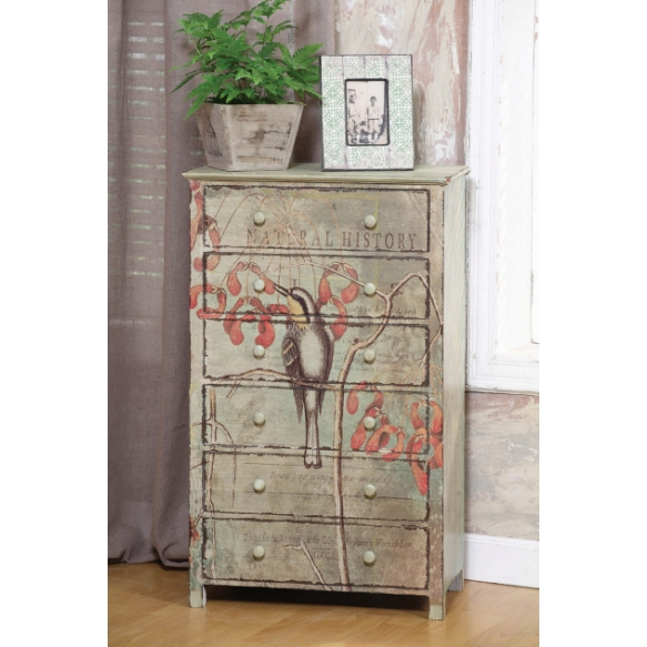 """22""""L x 11-1/2""""W x 36""""H Pine Catesby Collage Chest w/ 6 Drawers,"""