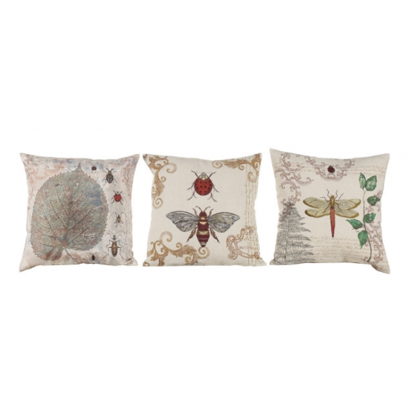 "17-1/2"" Square Cotton & Linen Embroidered Pillow, 3 Styles"