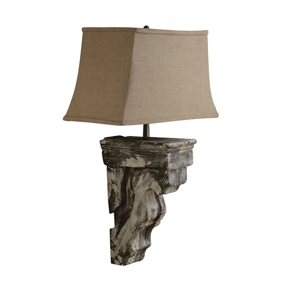 "20""L x 12""W x 32""H ResinCornice Wall Lamp, Linen Shade"