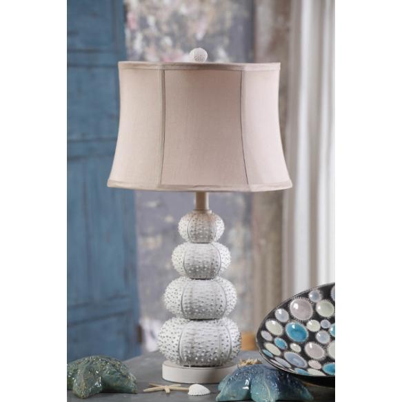 """14-1/2"""" Round x 27""""H Resin Sea Urchin Table Lamp w/ Shade, (100 Watt Bulb Maximum)"""