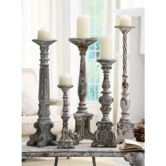 "13-13-3/4""H Resin Pillar Holder, Holds 3"" Pillar Candle, Antique Blue Finish 3/4""H Resin Pilla"