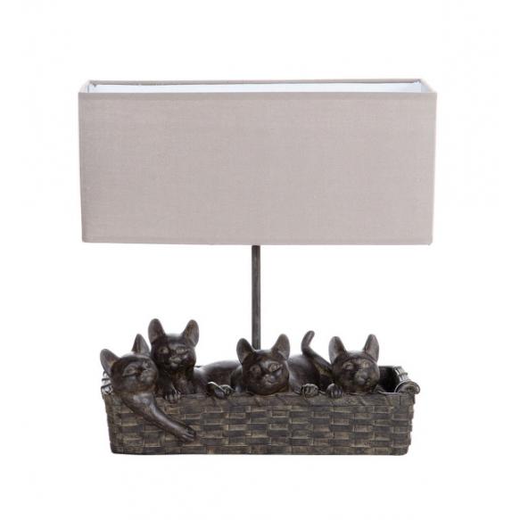 """14-1/2""""H Resin Cat Lamp w/ Shade,  (40 Watt Bulb Maximum)"""