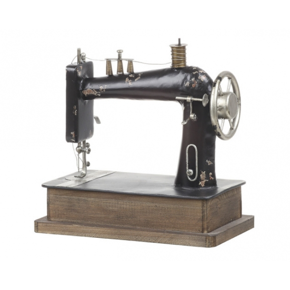 """12""""L x 11-3/4""""H Decorative Metal Sewing Machine"""
