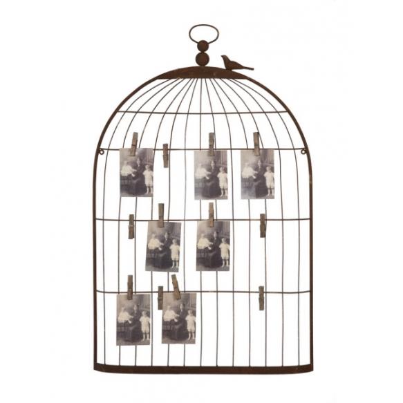 Roostevärvi metallist linnupuurikujuline pildi-ja kaardihoidja