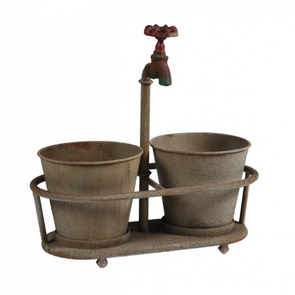 "13-3/4""L x 14""H Metal Planters w/ Faucet Holder, Holds 2 - 3"" Plants, Rust"