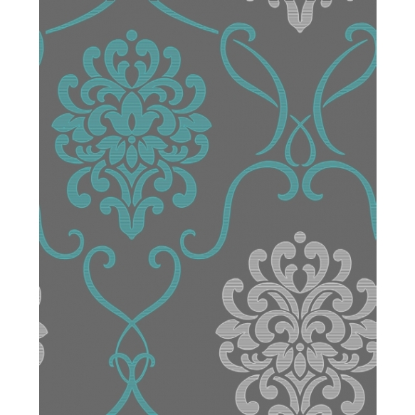 Accents Damask Turquosie/Grey