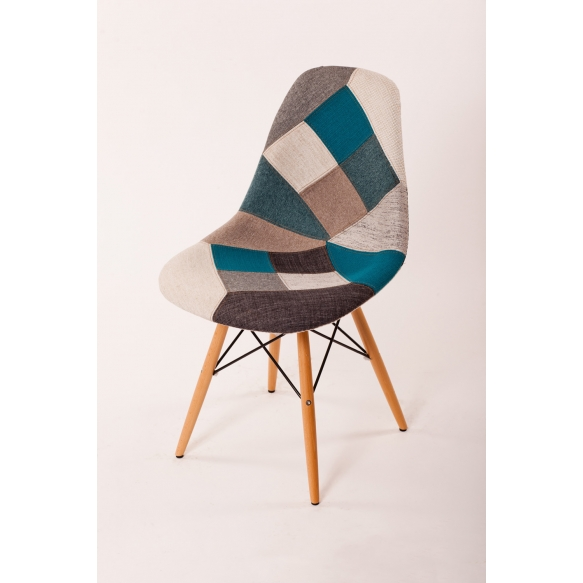 chair Alexis, blue patchwork, beech feet
