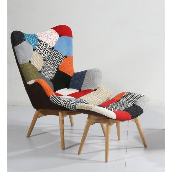 pouf Burg, patchwork fabric