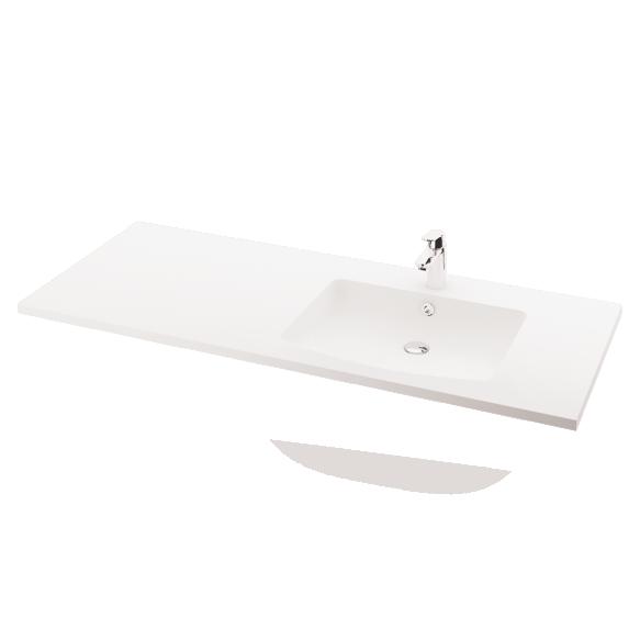 silkstone basin Piano 150cm,basin on  right