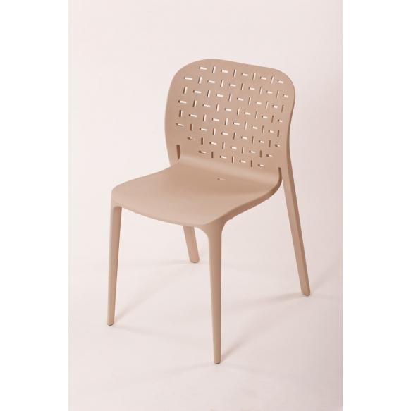 plastic chair Abuso, light brown