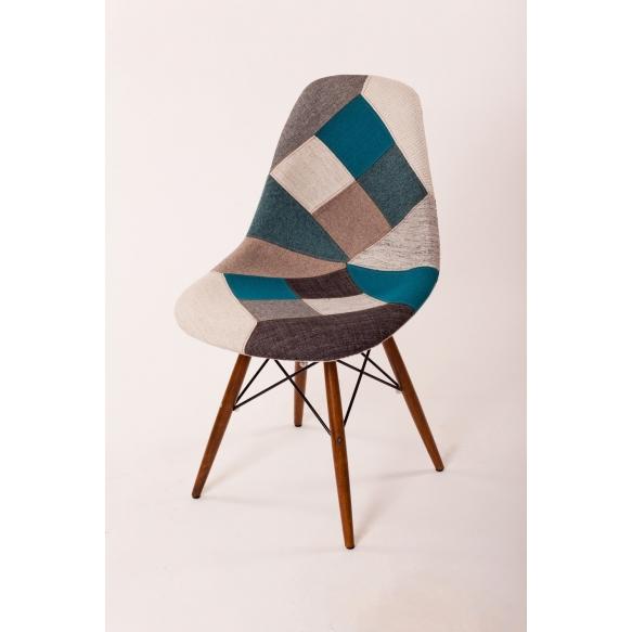 chair Alexis, blue patchwork, light brown feet