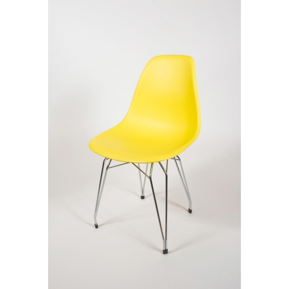 "chair Alexis, yellow, chromed metal ""Y"" feet"
