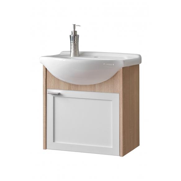 cabinet under washbasin Piano, oak+white, basin not included