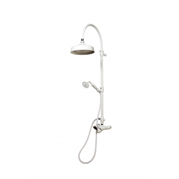 EXTERNAL SHOWER MIXER WITH SUPERIOR CONNECTION WHITE LEVER NEW MAT WHITE