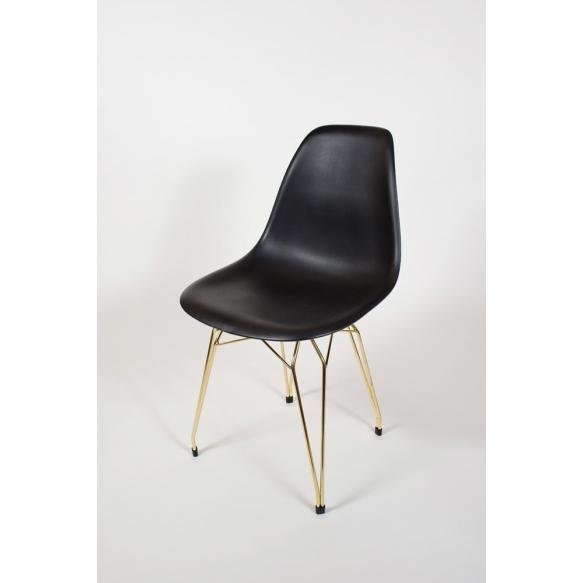 "chair Alexis, black, golden metal ""Y"" feet"
