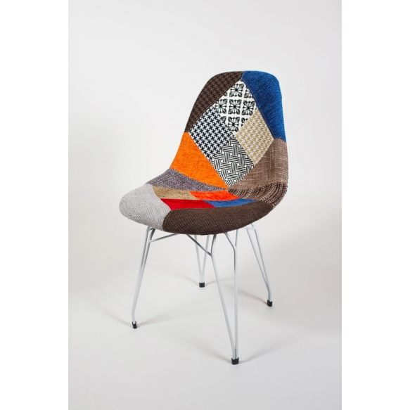 "chair Alexis, patchwork, white metal ""Y"" feet"