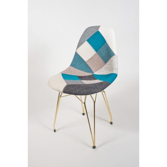 "chair Alexis, blue pathwork, golden metal ""Y"" feet"