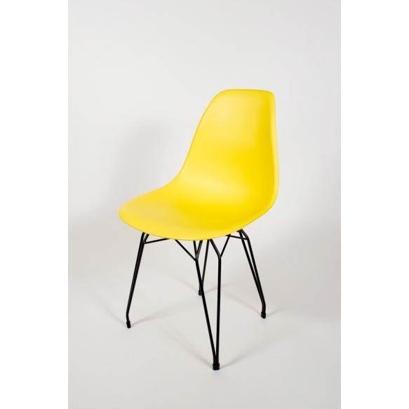 "chair Alexis, yellow, black metal ""Y"" feet"