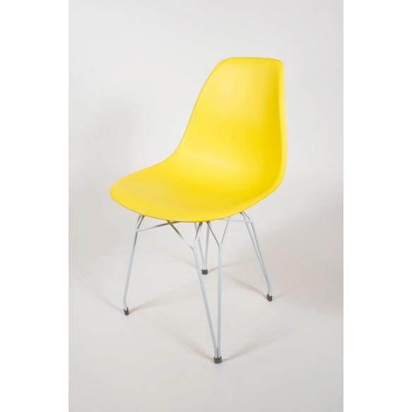 "chair Alexis, yellow, white metal ""Y"" feet"