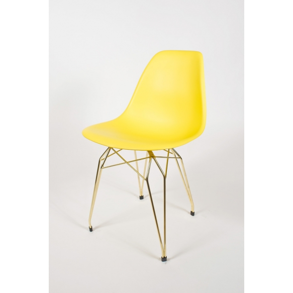 "chair Alexis, yellow, golden metal ""Y"" feet"