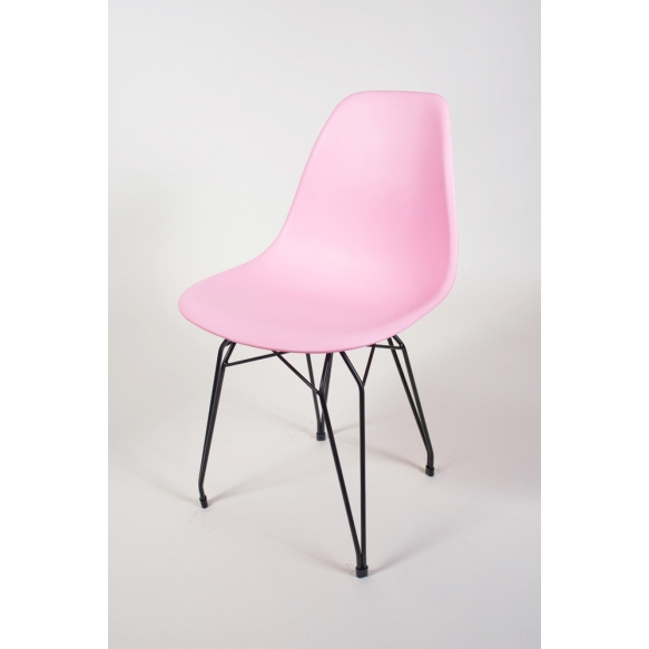 """chair Alexis, pink, black metal """"Y"""" feet"""