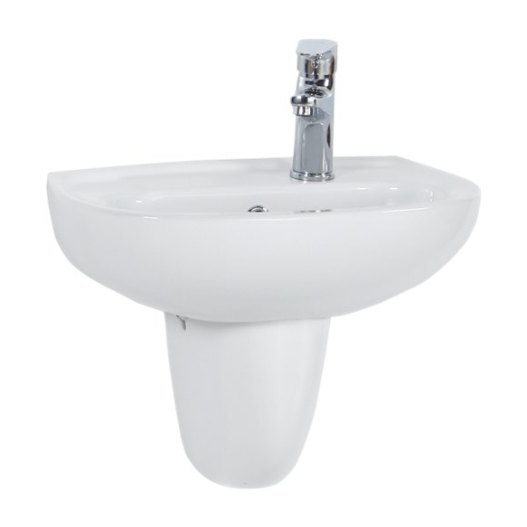 30*45 CM OVAL W.BASIN WITH HOLE WHITE