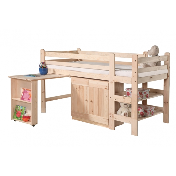 High bed 190x90 cm Bed 1 – with a desk, a cabinet and a bookshelf (untreated), laqcuered wood