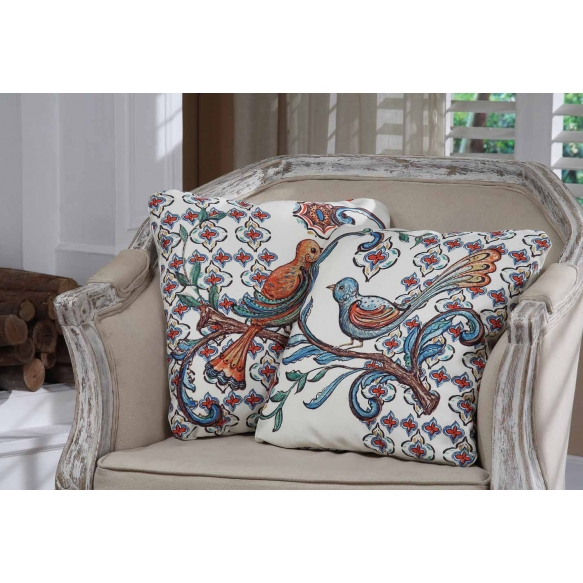 """15-3/4""""Square Canvas Pillow w/ Bird Image, 2 Styles ©"""