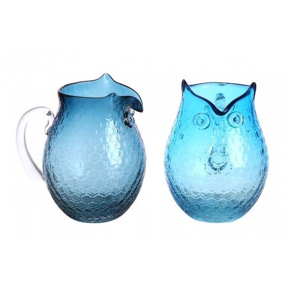 "8-1/4""H Glass Owl Pitcher, 2 Styles"