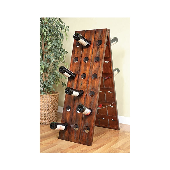 "16""L x 48""H Fir Floor Wine Rack, Holds 36 Wine Bottles"
